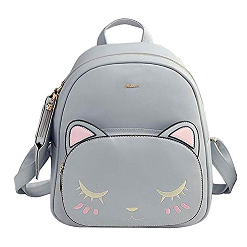 Donalworld Women Floral School Bag Travel Cute PU Leather Mini Backpack Greyb