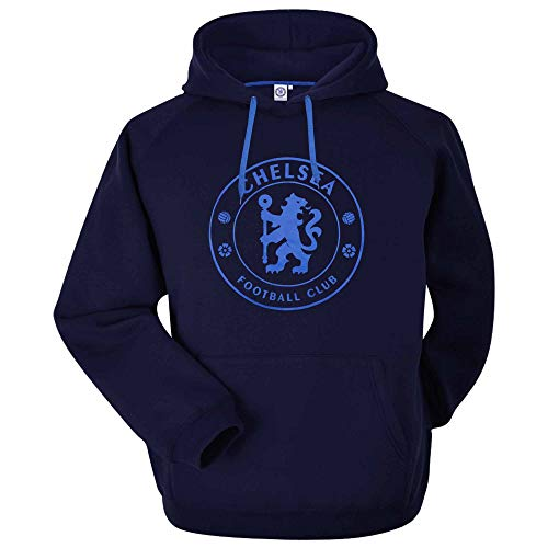 BLUES- Official Chelsea Football Crest Leisure Hoodie With Two Pockets (Unisex Adults Sizes S to 3XL) (LARGE)