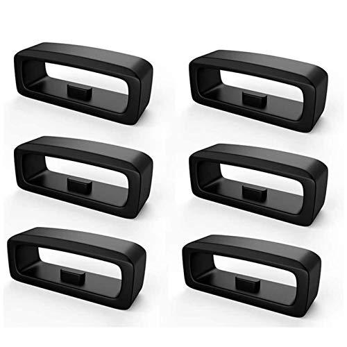 FENG Verschlussring für Garmin Fenix5/Fenix5 Plus,6-Pack Silikon Sichere Schleife für Fenix 5 / Fenix5 Plus/Forerunner 235/Forerunner 630/Forerunner 735XT (Schwarz)
