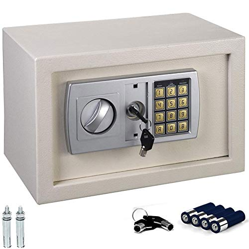 Bakaji Cassaforte a Muro Numerica Digitale 31 x 20 x 20 cm Cassetta di Sicurezza Elettronica Casa Albergo Hotel Safe + 4 x AA Batterie e Chiavi di Emergenza Colore Beige