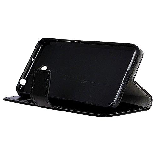 SMTR Huawei Y5II / Huawei Y5 2 Wallet Tasche Hülle - Ledertasche im Bookstyle in Schwarz - [Ultra Slim][Card Slot][Handyhülle] Flip Wallet Case Etui für Huawei Y5II / Huawei Y5 2 - 6