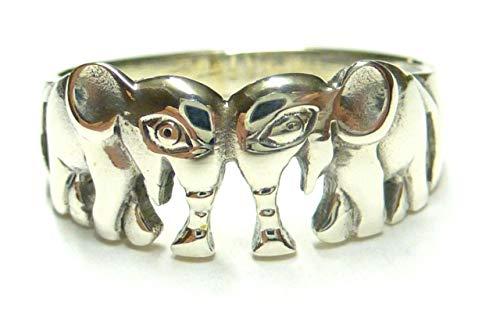 LetsBuySilver - Anello in argento sterling 925 a forma di elefante, misure disponibili da 10,5 a 28,5 e Argento Sterling, 61 (19.4), colore: argento, cod. Art. 2414