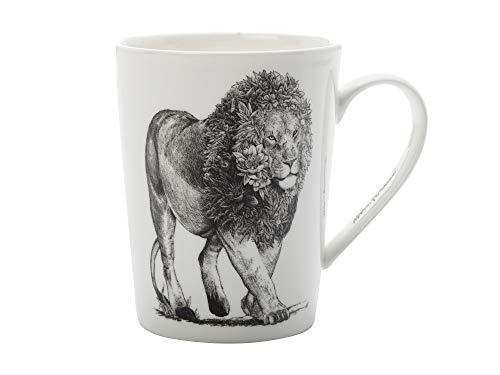 Maxwell & Williams DX0227 Marini Ferlazzo Becher African Lion, aus Bone China Porzellan, Schwarz, Weiß, 460 ml, in Geschenkbox
