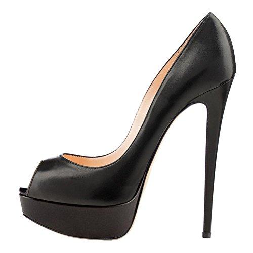 Lutalica Frauen Sexy Plattform Stiletto Extreme High Peep Toe Kleid Pumps Schuhe für Hochzeit Matt Schwarz Größe 35 EU