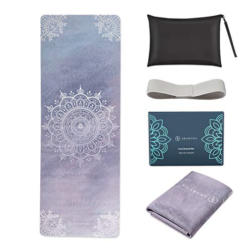 """SNΛKUGΛ Travel Yoga Mat Foldable, 1/16 Inch Thin Non Slip Yoga Mat Lightweight, Carrying Bag Eco Friendly Natural Rubber & Suede, Portable Fitness & Exercise Mat 72""""L x 26""""W x 1.5mm, Lavender Mandala"""