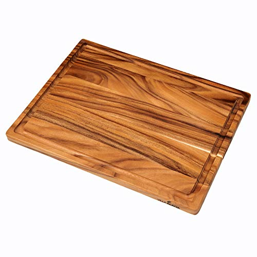 Villa Acacia Extra Large 24' Meat Carving Board with Groove, Reversible Wood Cutting Board
