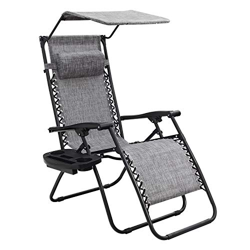 Homall Zero Gravity Chair Patio Lawn Chair Lounge Chair Folding Recliner Adjustable Outdoor with Canopy Shade,Cup Holder (Grey)