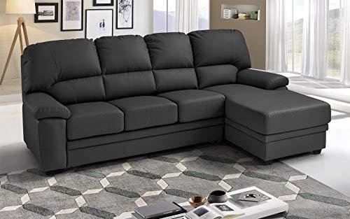 Dafne Italian Design - Sofá cama esquinero de 3 plazas con chaise longue a la derecha, piel sintética gris (269 x 162 x 92 cm)