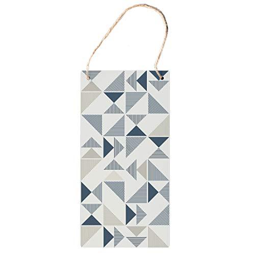 Bohohobo Señal vertical de madera con patrón de triángulo, para colgar de madera, para decoración de madera, con cuerda de cordel, el mejor regalo para tiendas de ropa, color blanco, 12,5 x 25 cm