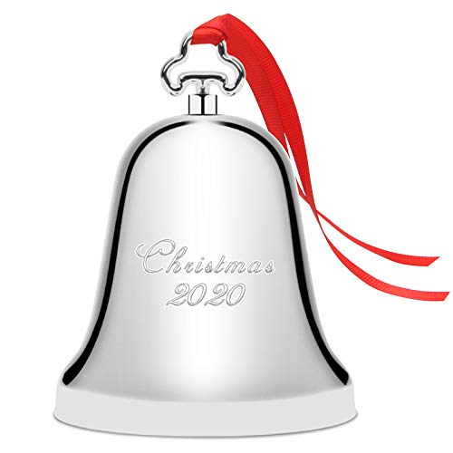 Zhaoyao Christmas Bell 2020, Silver Jingle Bell Ornament for Christmas Decorations, Anniversary Bell with Gift Box and Red Ribbon for Chirstmas