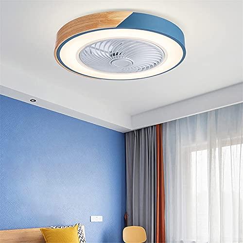 Ventilatori Da Soffitto in Legno A LED Con Lampada,Plafoniera Con Ventilatore Dimmerabile Per Sala Da Pranzo Con Telecomando,Fan Silenziosa A 3 Velocità Per Camera,Soggiorno Lampadario,Blu