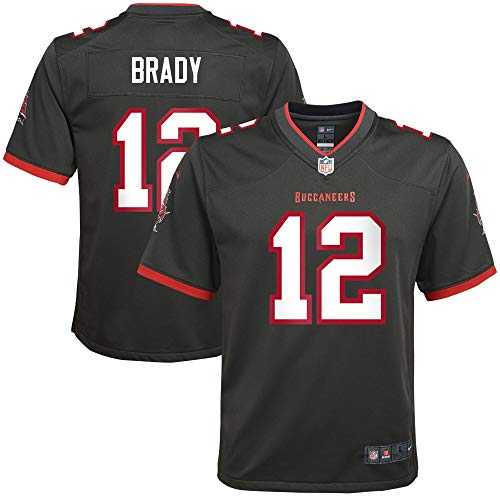 Nike Tom Brady Tampa Bay Buccaneers NFL Boys Youth 8-20 Pewter Black Alternate On-Field Game Day Jersey (Youth Medium 10/12)