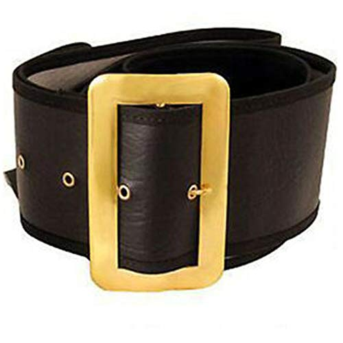 Large Santa Claus Belt Size Large 48-56 - Halco Black Naugahyde Gilt Buckle Prong Eyelets Standard Quality Bundle w Santa Guide