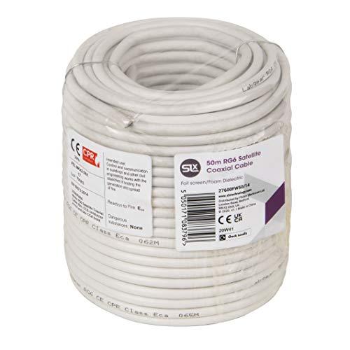 Cable coaxial 50m RG6 carrete blanco, SLx 27600FW Gas inyectado antena digital, datos y satélite cable coaxial de TV