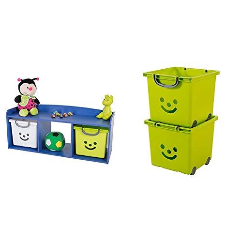 IRIS, Kindersitzbank 'Kids Bench' mit Stauraum / Aufbewahrung, blau, 101,4 x 34 x 43,4 cm & 2er-Set Würfelboxen 'Smiley Kids Boxes', KCB-32, Kunststoff, mit Rollen, pistaziengrün, 33 x 32 x 29 cm