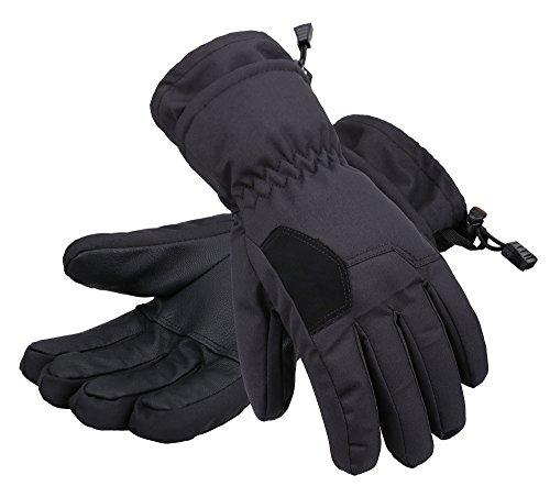 Andorra Boys' 2-Tone Geometric Thinsulate Cotton Ski Snowboard Gloves,Black,M(7-9 Years)