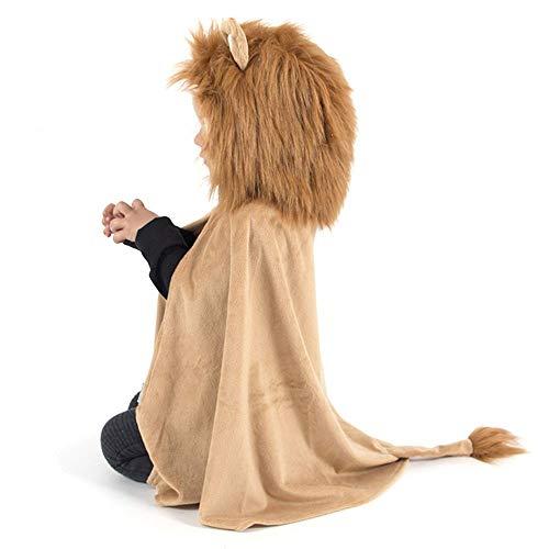 Den Goda Fen - F9880 - Capa de len con capucha - 3-8 aos talla 98-128 - Disfraz para nios - Disfraz de gato depredador.
