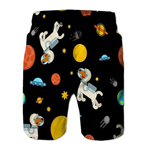 Yuerb Men 's Swim Shorts de Playa de Surf de Secado rápido Perro Astronauta patrón Espacial Mascota Astronauta Cachorro cosmonauta Disfraz Universo textire patrón Espacial Perro Bastante