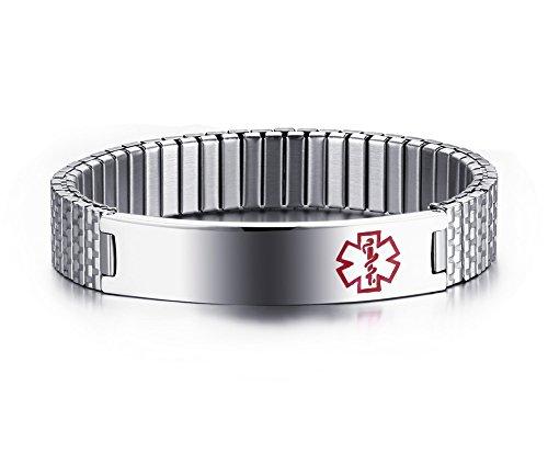 %6 OFF! VNOX Free Engraving 12mm Stainless Steel Medical Alert ID Stretch Bracelet for Men Women,7-...