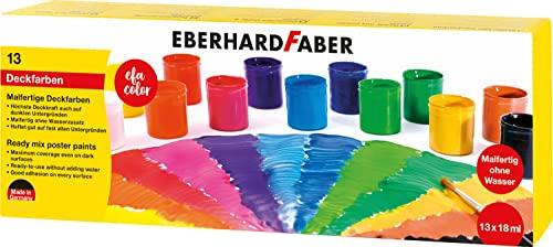 Eberhard Faber 575613 - EFA Color Malfertige Deckfarben, Set mit 13 Farben in Dosen zu je 18 ml, höchste Deckkraft, vermischbar, geeignet für unterschiedliche Maluntergründe