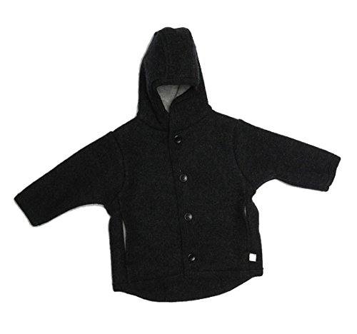 Disana Disana Kinder Baby Walk-Jacke 100% Bio-Schurwolle (74/80, anthrazit)