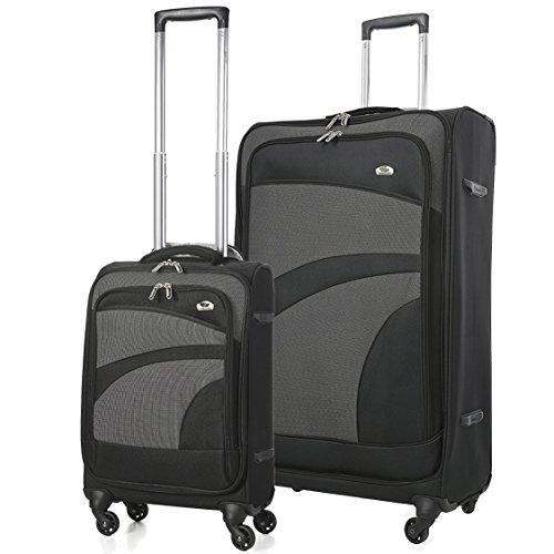Aerolite Super Lightweight 4 Wheel Spinner Suitcase Travel Trolley 2 Piece Luggage Set, 21' Hand Cabin Luggage + 29' Large Check in Hold Luggage Suitcase, Black/Grey