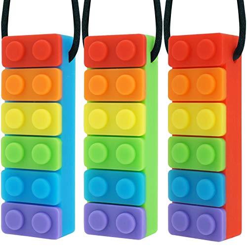 Panny & Mody Collares masticables sensoriales Joyas masticables para niños y niñas (paquete de 3), varillas de silicona con forma de arcoíris