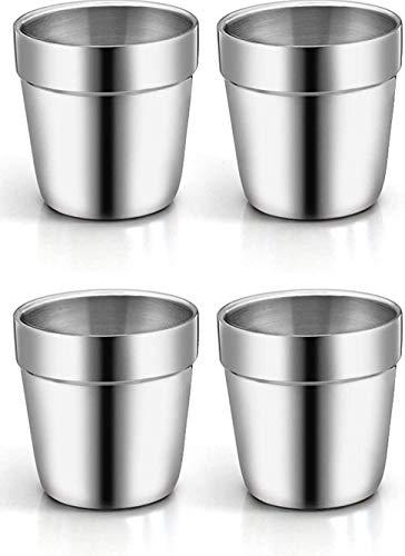 Edelstahlbecher 4 Stück Kaffeebecher Teebecher für Outdoor Camping Edelstahlbecher für Saft Bier Portionierungsbecher für Zuhause oder Reisen Wandern Becher unzerbrechlich Metall Becher (175ml)