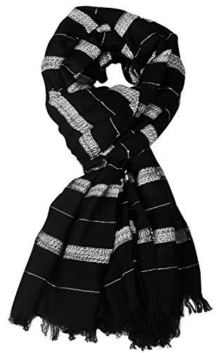 Aimee Men's Striped Rayon, Cotton Scarf (BPCV1_Black)