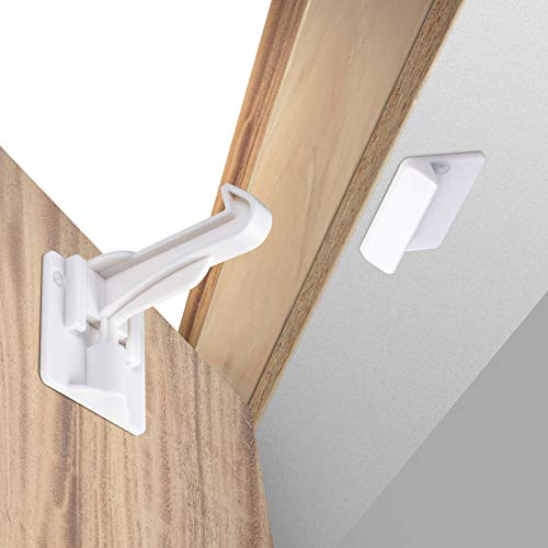 Upgraded Invisible Baby Proofing Cabinet Latch Locks (10 Pack) - No Drilling or Tools Required for Installation, Works with Most Cabinets and Drawers, Works with Countertop Overhangs, Highly Secure
