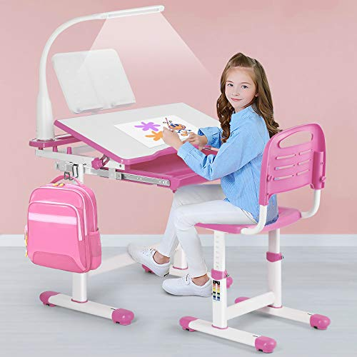 Artist hand Kids Study Desk and Chair Set,Adjustable Girls School Writing Study Table,with Large Writing Board LED Lamp Pull Out Drawer Pencil Case Bookstand,Pink