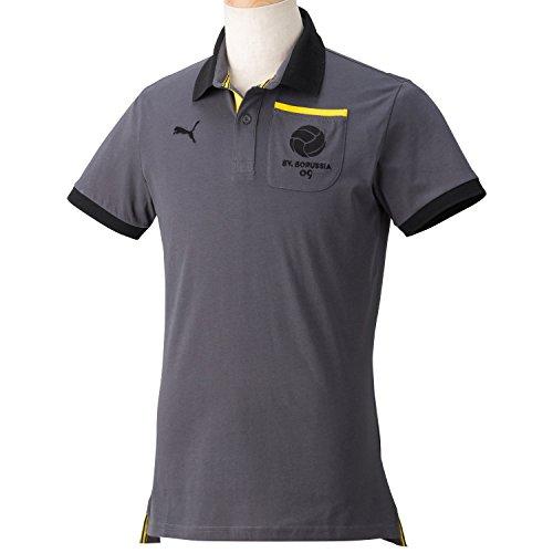 PUMA Herren Polo Shirt BVB T7, Ebony-Black-Cyber Yellow, S