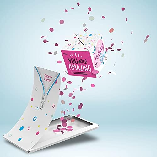 Boemby Explodierende Konfetti Geburtstagskarte - Happy Birthday Karte - Pop Up Überraschung Grußkarte Geschenk - WOW Effekt - BOOM Box - Premium Qualität (Happy Birthday - Pink)