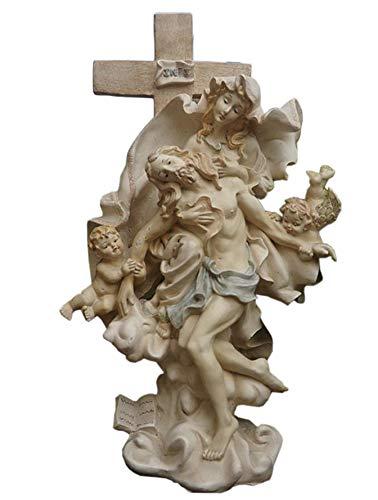 Zyh-hyz Crucifijo Figura de Escultura, Jesucristo Estatua de época católica Decoración Religión Ornamento Estatua del jardín