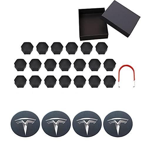 WCLOC Tapa del Cubo del Centro De La Rueda Adecuada para Tesla Model 3 S X, con Juego De 4 Tapas Centrales Y Kit De Cubierta De Tuercas De 20 Ruedas, Decoraciones Tesla 25 Piezas (Gris + Blanco)
