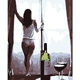 Anytumep Pintura por números DIY 40x50 50x65cm Resaca Belleza Encantadora Figura Lienzo Decoración de la Boda Imagen del Arte Regalo