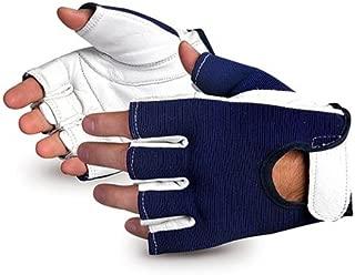 Superior VIBGHFV Vibrastop Goatskin Leather Palm Half-Finger Vibration-Dampening Glove, Work, Large (Pack of 1 Pair)