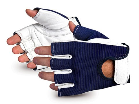 VIBGHFV/M Vibrastop Goatskin Leather Palm Half-Finger Vibration-Dampening Gloves, Size Medium