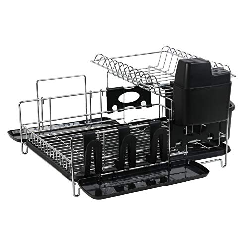 Dish Drying Rack,2 Tier Dish Rack,Dish Drainer with Drianboard,304 Stainless Steel Dish Drying Rack