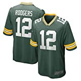 FTING Maillot de rugby pour homme Aaron Packers NO.12 Green Bay Rodgers Game Team - Vert