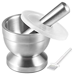1. Solid Rustproof Material: Both mortar and pestle are made of food grade 18/8 stainless steel. Not only is it rustproof, it is also resistant to damage and corrosion by acidic food. 2. Durable and Stable: Made of solid metal, the pestle feels subst...