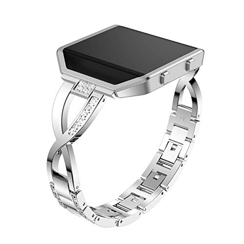 Compatible with Fitbit Blaze Watch Band with Frame, Stainless Steel Metal Bling Replacement Band Straps Accessory Dressy Elegant Bracelet Wristbands Compatible with Fitbit Blaze Women Men (Silver)