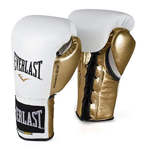Everlast P00000581 Powerlock Training Gloves (Laced) White/Gold 14oz