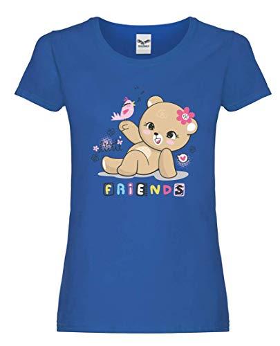 Camiseta de manga corta para mujer y mujer con diseño de oso de peluche azul cobalto XXL
