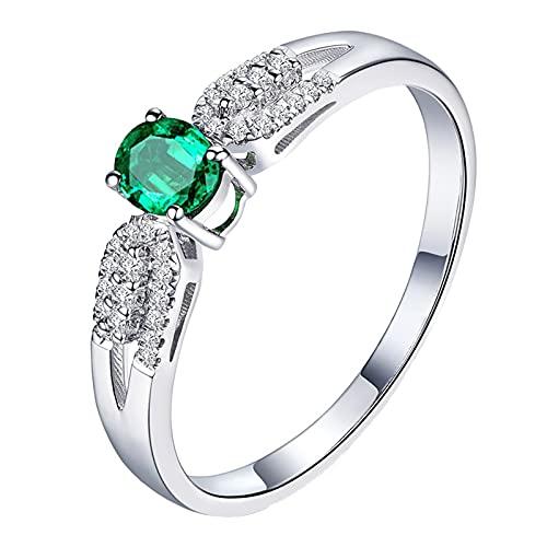 KnBoB Damen 18 Karat (750) Weißgold Ring Oval Grün 1.2ct Smaragd mit Weiß Diamant Trauringe Mode Größe 52 (16.6)