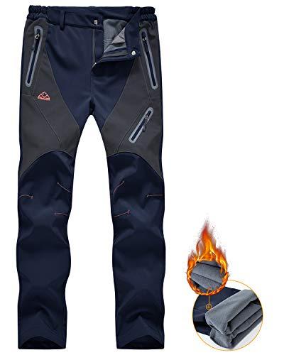 donhobo Damen-Wanderhose, wasserdicht, Thermo-Fleece-Futter, winddicht, warm, Softshell-Material, zum Wandern, Angeln, Skifahren, Schnee, Größe S, Marineblau