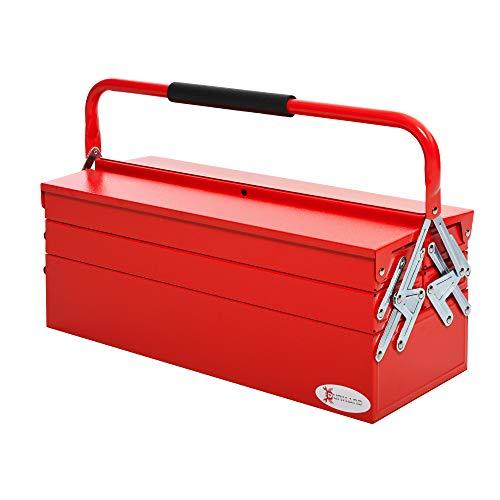 DURHAND Caja de Herramientas de Acero Plegable Portátil con 5 Compartimentos y Mango de Transporte para Taller Bricolaje Hogar 57x21x41 cm Rojo