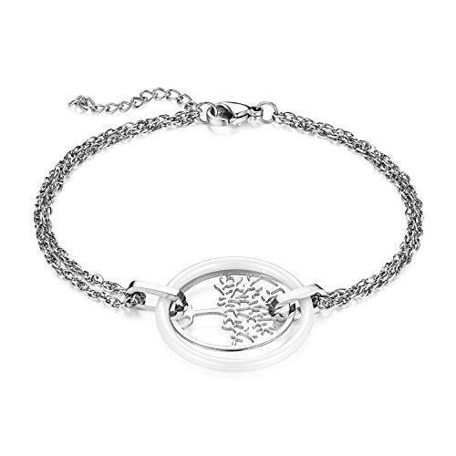 JewelryWe Schmuck Damen Armband, Edelstahl Hohle Baum des Lebens Armkette Charms Armreif mit Keramik Kreis Ring, verstellbare Größe, Weiß Silber