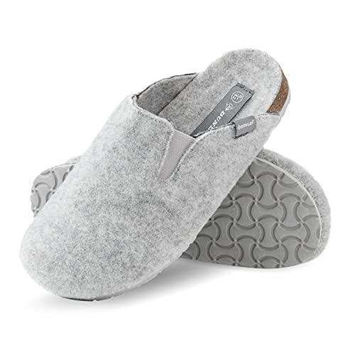 Dunlop Zapatillas de hombre, zapatillas de fieltro suela de goma antideslizante, zapatos de interior al aire libre, color Gris, talla 41 EU