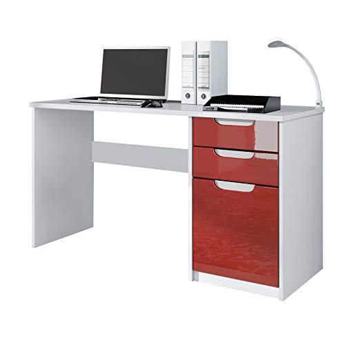 Escritorio Mesa para computadora Mueble de Oficina Logan, Cuerpo en Blanco Mate/frentes en Burdeos de Alto Brillo